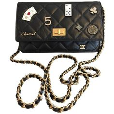 Wallet on Chain leather mini bag CHANEL ($3,540) ❤ liked on Polyvore featuring bags, chanel, purses, leather mini bag, real leather bags, leather bags and chain bag
