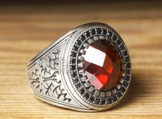 925 K Sterling Silver Man Ring Red Quartz 9,25 US Size B20-64919 #istanbul #Cluster