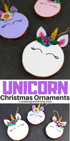 Turn a humble wood slice into a magical unicorn Christmas ornament with this easy unicorn craft tutorial. Foam Christmas Ornaments, Unicorn Christmas Ornament, Unicorn Ornaments, Christmas Tree Ornaments, Christmas Fun, Glitter Ornaments, Cute Diy Projects, Unicorn Crafts, Holiday Crafts