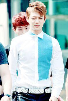 Minho!! Love the blue shirt!