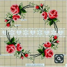 Lovely heart tricks: Cross Stitch: Roses in style Shabby-chic . and not only (collection schemes) Cross Stitch Pillow, Cross Stitch Borders, Cross Stitch Rose, Cross Stitch Flowers, Cross Stitch Charts, Cross Stitch Designs, Cross Stitching, Cross Stitch Embroidery, Hand Embroidery