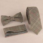 Plaid Print Tie Pocket Square and Bow Tie Grey Tie, Cheap Accessories, Tie Set, Tie And Pocket Square, Cufflinks, Wedding Cufflinks