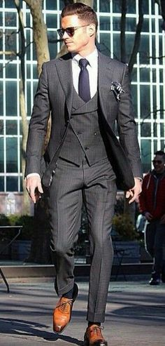 A 2 piece mens charcoal grey suit ⋆ Men's Fashion Blog - #TheUnstitchd