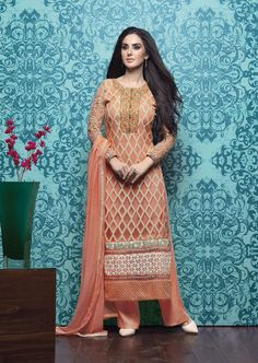 Peach Georgette Palazzo Suit 63333