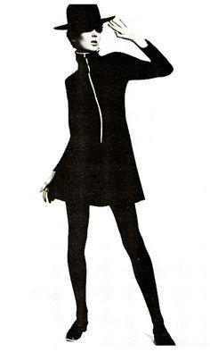 Grace Coddington modeling Mary Quant's 'Banana Split' dress.                 (Image scanned by Sweet Jane)