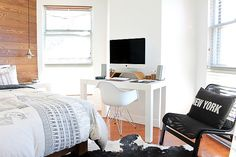 Are your kids being noisy? Husband watching the game too loudly? Can't get your work done with all of this commotion? No worries! This bedside computer desk and chair is the ideal place to sit and get your work done in peace. Once you're finished, the bed is only a few steps away. The white mixed with wood is very modern and matches almost all decor.