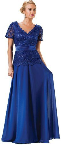 Meier Women's Short Sleeve Double V-Neck Lace Mother of Bride Dress | Wedding Dresses in USA - Blue Wedding Dress