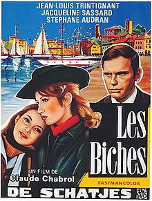 Les Biches    Film poster for Le Biches /  Directed by	Claude Chabrol  Produced by	André Genovès  Written by	Claude Chabrol  Paul Gégauff  Starring	Stéphane Audran  Jacqueline Sassard  Jean-Louis Trintignant  Nane Germon  Henri Attal  Dominique Zardi  Music by	Pierre Jansen  Cinematography	Jean Rabier  Editing by	Jacques Gaillard  Release date(s)	France:  March 22, 1968[1]  Italy:  August 30, 1968[1]  Running time	95 minutes  Country	France  Italy  Language	French
