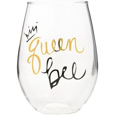 Queen Bee Stemless Wine Glass, Black/Gold Gordmans ❤ liked on Polyvore featuring home, kitchen & dining, drinkware, queen bee, glass wine glasses, queen bee wine glass, glass drinkware and stemless wineglasses