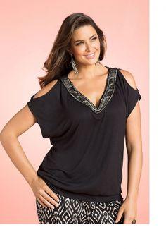Plus Size Women's Fashion - Sara Beaded Cold Shoulder Top - EziBuy Australia -