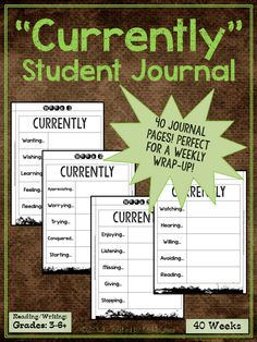"This twist on the popular ""Currently"" rage will provide a fun and different way to have your students journal about their week. Not only will they get to think creatively, but they will also be introduced to many new words making this a great vocabulary activity as well. ($)"