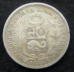 Moneda de plata un medio sol de 1916 Perú