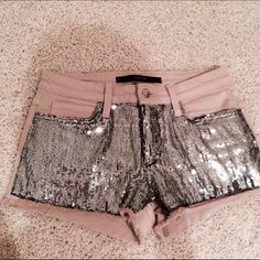 Joes Jeans Sequin Shorts Pale pink shorts with distressed sequins on the front. Short inseam, surprisingly very comfortable. Excellent condition Joe's Jeans Shorts