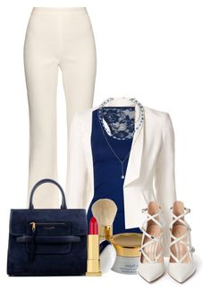 """""""Cream & Blue"""" by jessinerio4l ❤ liked on Polyvore featuring Giambattista Valli, Elie Saab, Bozzolo, Estée Lauder, Gianvito Rossi, Marc Jacobs and Kevyn Aucoin"""