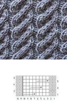 вязаная женская шапка с отворотом спицами Cable Knitting Patterns, Knitting Charts, Lace Knitting, Knitting Stitches, Knit Patterns, Stitch Patterns, Knit Crochet, Crochet Stitches Chart, Knitted Hats