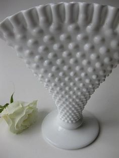 Fenton Hobnail fan vase