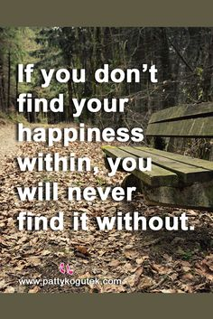 If you don't find your happiness within, you will never find it without. http://pattykogutek.com/inspirational-insights/