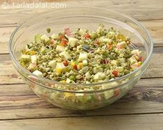 Zucchini, Bell Pepper and Sprouted Moong Salad recipe | by Tarla Dalal | Tarladalal.com | #40748