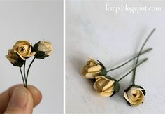 Great tutorial on making paper rose buds ~ Klaudia/Kszp: Kurs na pączek róży… Faux Flowers, Small Flowers, Diy Flowers, Pretty Flowers, Rose Crafts, Flower Crafts, Tissue Paper Flowers, Paper Roses, Flores Diy
