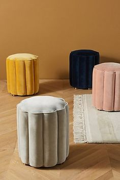 Soho Home x Anthropologie Adriana Pouf by in White Size: All, Benches + Ottomans Pouf Ottoman, Ottoman Bench, E Design, Interior Design, Tiny House Village, Modern Tiny House, Soho House, Tiny Living, Decoration