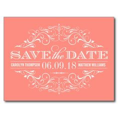 Coral Pink Save the Date | Swirl and Flourish Post Cards