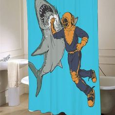 Shark Punch Shower Curtain - myshowercurtains