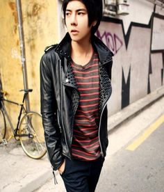 3659439052 Autumn black rivets korean fashion motorcycle leather jackets mens short  coats street outerwear personality slim clothing