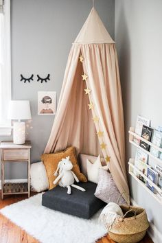 Make a Modern Reading Nook for Kids With These Easy Steps decor diy . Make a Modern Reading Nook for Kids With These Easy Steps decor diy decor diy crafts decor d Childrens Reading Corner, Reading Nook Kids, Kids Corner, Baby Corner, Children Reading, Girls Bedroom, Bedroom Decor, Bedroom Ideas, Nursery Decor