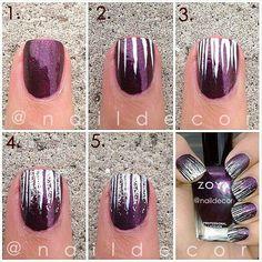 Nail design tutorial #mani #nails #manicure #Essie #OPI #ChinaGlaze -short nails -real nails - nail polish - sexy nails - pretty nails - painted nails - nail ideas - mani pedi - French manicure - sparkle nails -diy nails
