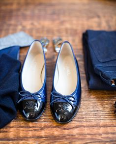 Navy and black Chanel ballerinas for fall