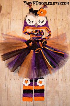 Sleepy Owl Hat Leg Warmers Sparkle Tutu Newborn/Infant/Toddler Girl Photography Prop Baby Girl Toddler Halloween Costume Purple Orange Black on Etsy, $74.99