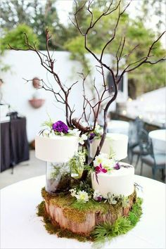 forest wedding Cake topper ideas for midsummer nights dream/ enchanted forest theme Enchanted Forest Wedding, Woodland Wedding, Rustic Wedding, Enchanted Forest Centerpieces, Woodland Cake, Enchanted Wood, Wedding Centerpieces, Wedding Decorations, Branch Centerpieces