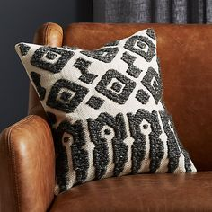 On sale. Shop Calisto Grey and White Pillow with Down-Alternative Insert. Geometric pillow pattern reads like ancient symbols on this solid natural cotton pillow. Charcoal grey embroidered design piles high for extra warmth and texture. White Fur Pillow, Black And White Pillows, Yellow Pillows, Grey Pillows, Modern Throw Pillows, Leather Pillow, Wool Pillows, Cotton Pillow, Accent Pillows