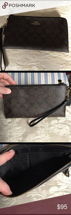 Coach Double Zip Wallet/Wristlet Brown and Black in color. My iphone6 fits inside. Wristlet strap. In gently used condition. Coach Bags Clutches & Wristlets