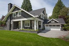 Grey Exterior Paint Color Siding is Benjamin Moore Kendall Charcoal, Trim Paint Color is Benjamin Moore Navajo White. Exterior Gray Paint, Exterior Paint Colors For House, Paint Colors For Home, Exterior Colors, Exterior Design, Grey Siding, Vinyl Siding, Grey Paint, Charcoal Paint