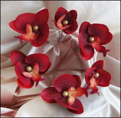 red orchid hair pins