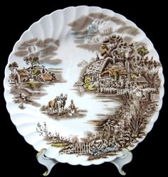 Happy England Luncheon Plate Brown Transfer Johnson Brothers 1940s