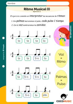 Ritmo Musical (Ejercicio 1) Online Music Lessons, Music Lessons For Kids, Music For Kids, Piano Lessons, Music Activities For Kids, Music Education Activities, Kindergarten Songs, Music Worksheets, Recorder Music