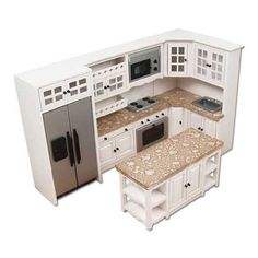 Dollhouse Miniature Modern White and Stainless Kitchen Set Mini Kitchen, Miniature Kitchen, Kitchen Sets, Miniature Houses, Miniature Dolls, Mini Doll House, Barbie Doll House, Dollhouse Kits, Dollhouse Miniatures