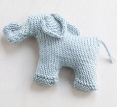 Free Knitting Pattern for Sweet Mini Elephant - oy knit flat and seamed. 5 in. (12.5 cm) tall. Designed by Lion Brand Yarn