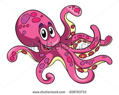 pink octopus, vector illustration on white background