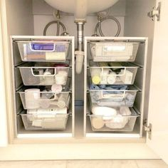 Bathroom Organization Hacks & Cheap DIY Bathroom Storage Solutions For Organizing ALL Those Small Bathroom Spaces. Under Kitchen Sink Organization, Under Kitchen Sinks, Bathroom Cabinet Organization, Sink Organizer, Kitchen Storage Solutions, Organization Ideas, Organized Bathroom, Under Cabinet Storage, Towel Storage