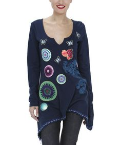 Blue Butterfly Embroidered Sidetail Tunicby Desigual on Zulily