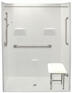 Handicap Accessible Shower by Freedom Showers. x 33 left drain with 5 piece stall. Accessible roll in shower for any bathroom. Wheelchair Accessible Shower, Handicap Accessories, Shower Accessories, Bathtub Replacement, Roll In Showers, Handicap Bathroom, Wet Rooms, Walk In Shower, Freedom