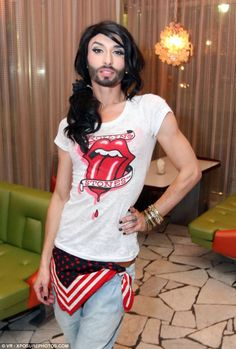 In the run-up to Eurovision, Conchita Wurst was already becoming well known. She is pictur...