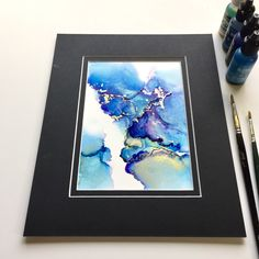 Excited to share the latest addition to my #etsy shop: ORIGINAL Abstract Alcohol Ink Painting with Mat (color may vary) -- Abstract Art, Wall Art, Ink Art, Modern Art, Visual Art https://etsy.me/2pAvsZo #art #painting #blue #gold #alcoholinkart #giftidea
