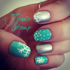 Winter Snowflake Nails by http://jenniestamp.com/