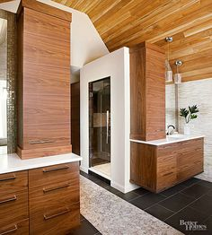 You HAVE to check out this spacious wood-inspired bathroom.