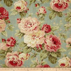 Richloom Queen Floral Summer from @fabricdotcom  Screen printed on laundered cotton duck with a distressed appearance. This medium weight fabric is very versatile and has a nice hand, perfect for window treatments (draperies, curtains, valances, and swags), bed skirts, duvet covers, pillow shams, accent pillows, tote bags, aprons, slipcovers and upholstery. Colors include red, pink, cream, sage, ivory and blue.