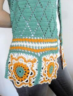Crochet VestSummer Top Granny Square TopLace by SmilingKnitting Gilet Crochet, Crochet Blouse, Crochet Motif, Crochet Granny, Crochet Vests, Crochet Tops, Crochet Cover Up, Crochet Hook Sizes, Crochet Clothes